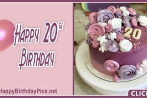 Happy 20th Birthday Mauve Theme