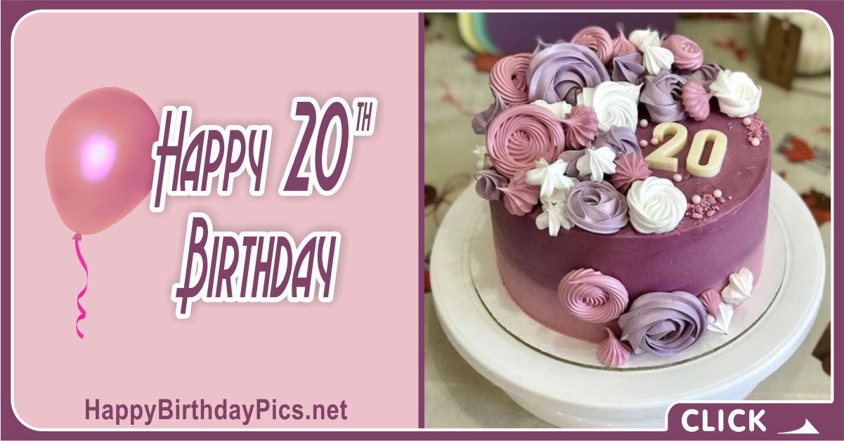 Happy 20th Birthday Mauve Theme Party Card Equivalents