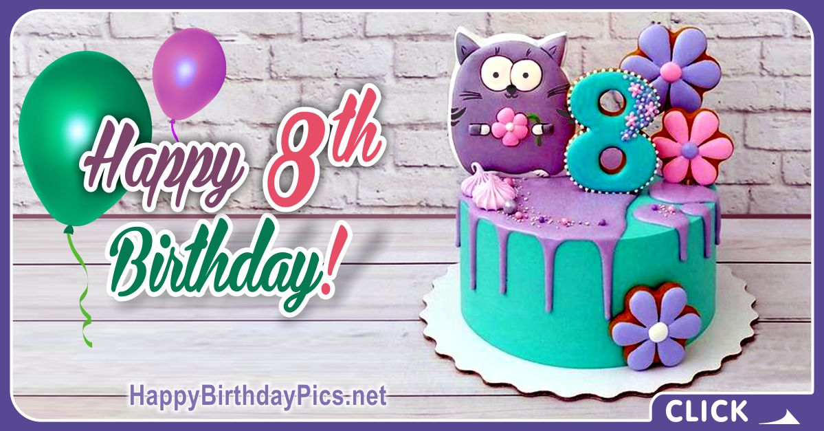 Cat Lover 8th Birthday Card Equivalents