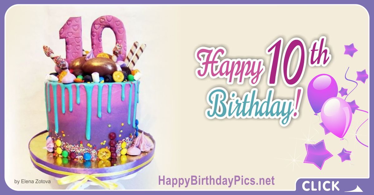 Cake and Candies 10th Birthday Card Equivalents