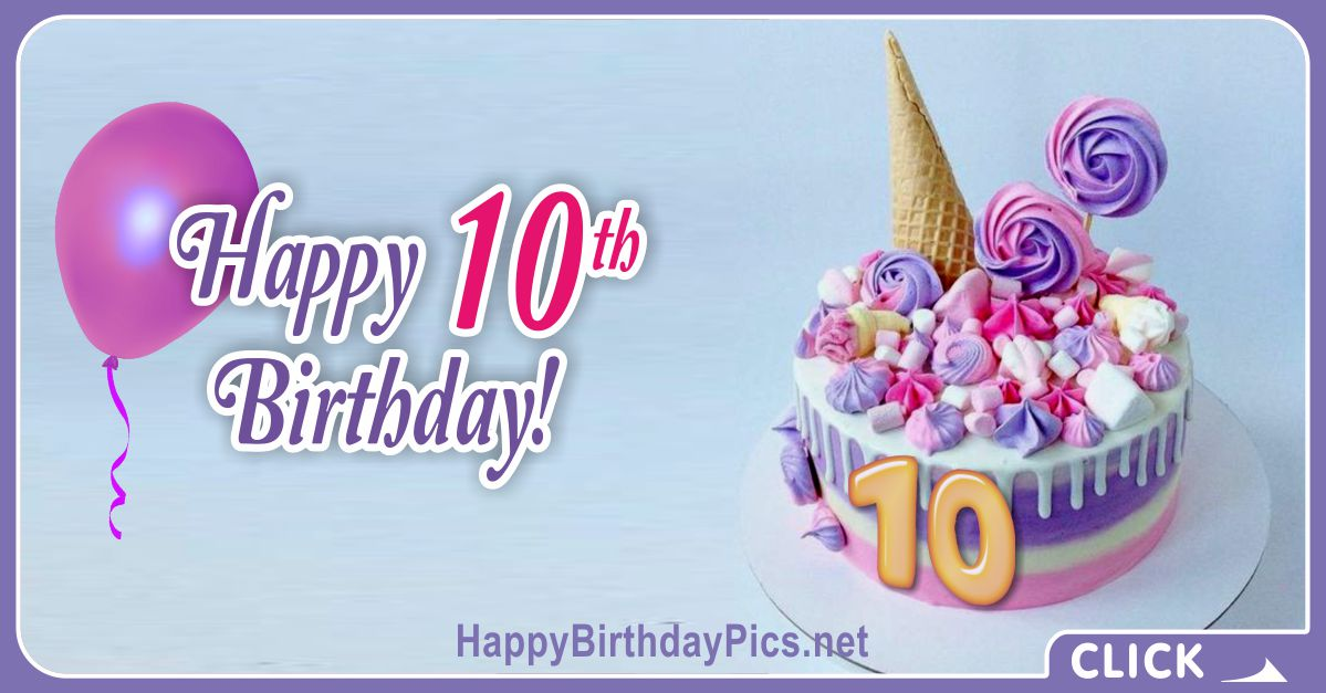 Pastel Colors 10th Birthday Card Equivalents