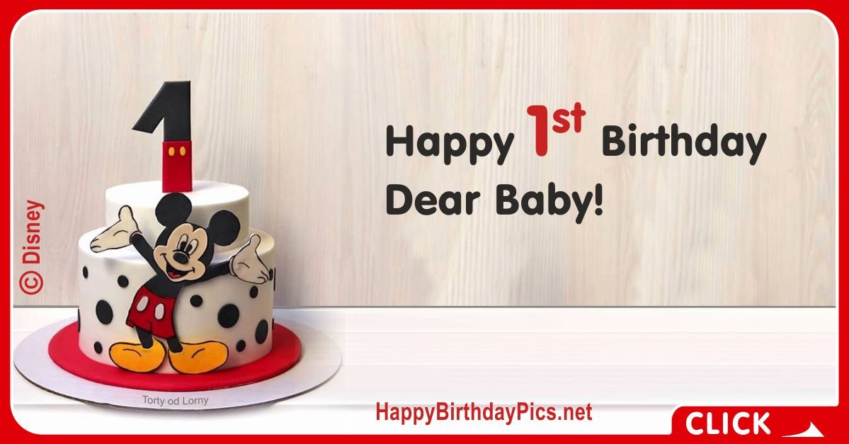 Mickey Mouse First Birthday Card 1 Birthday Greeting