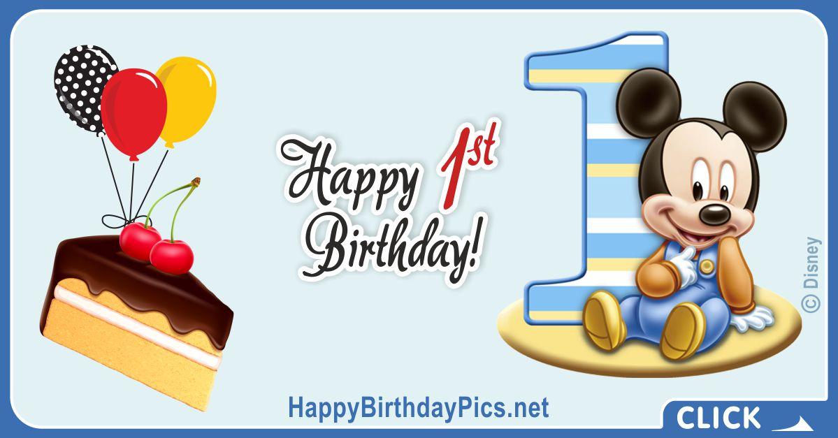 Mickey Boy First Birthday Card 1 Greeting