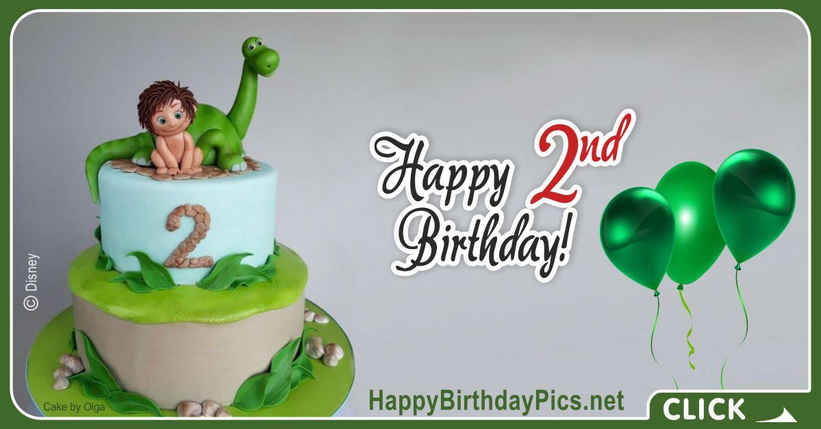 Good Dinosaur Second Birthday Card Greeting