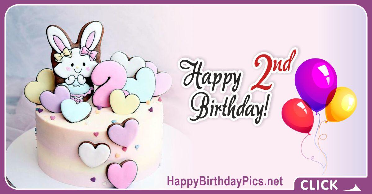 Bunny Girl Second Birthday Card Greeting