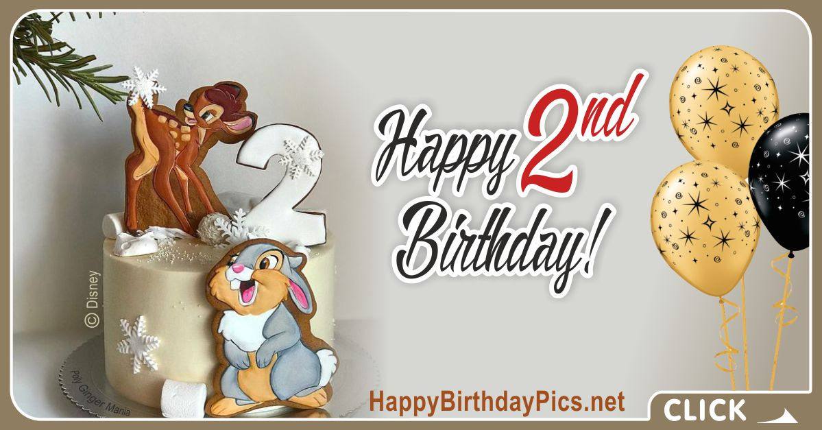 Cute Baby Second Birthday Card Greeting