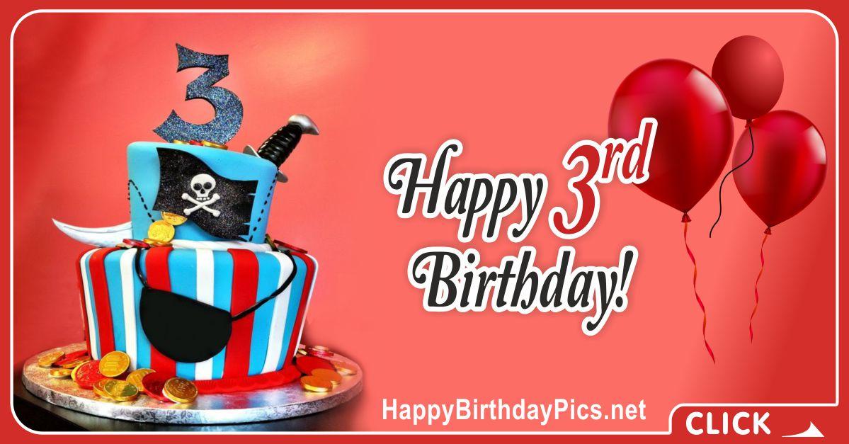 Pirate Baby Third Birthday Card Greeting