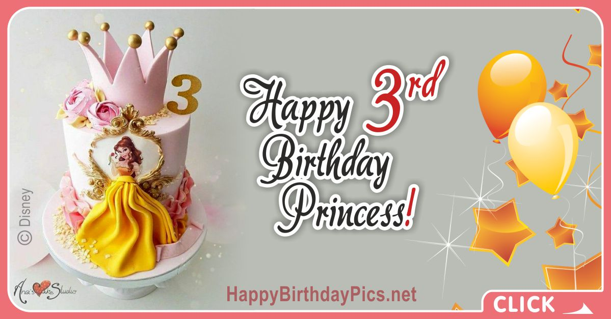 Princess Belle Third Birthday Card Greeting