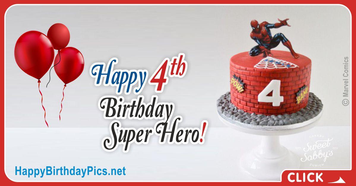 Spider-Man Fourth Birthday Card Greeting