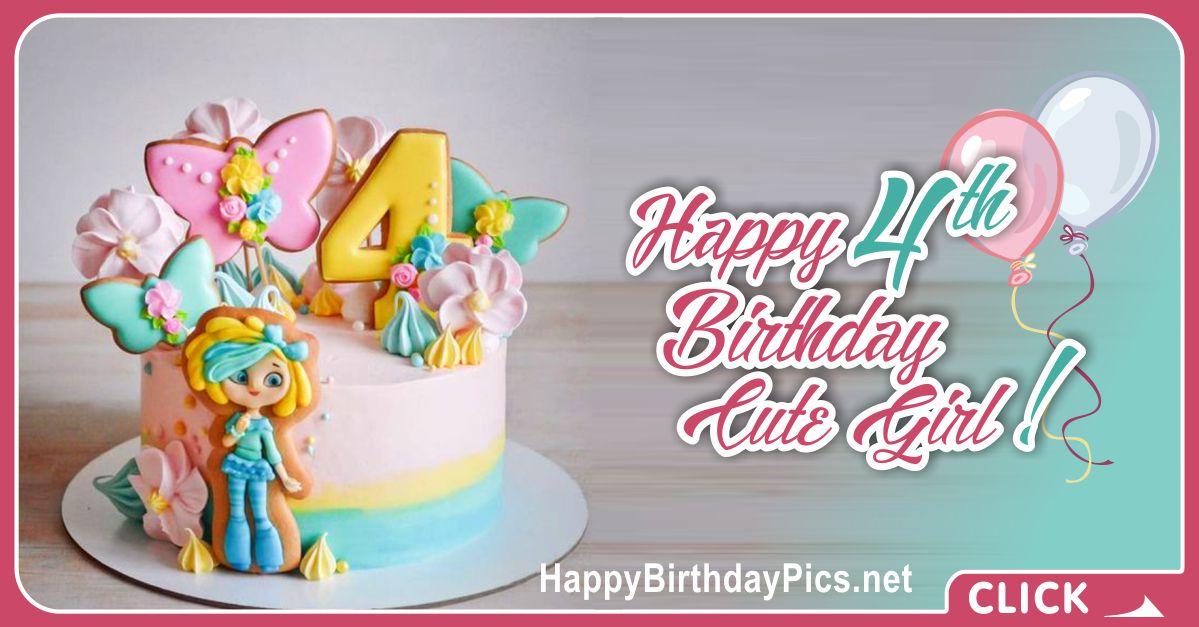 Cute Girl Fourth Birthday Card Greeting
