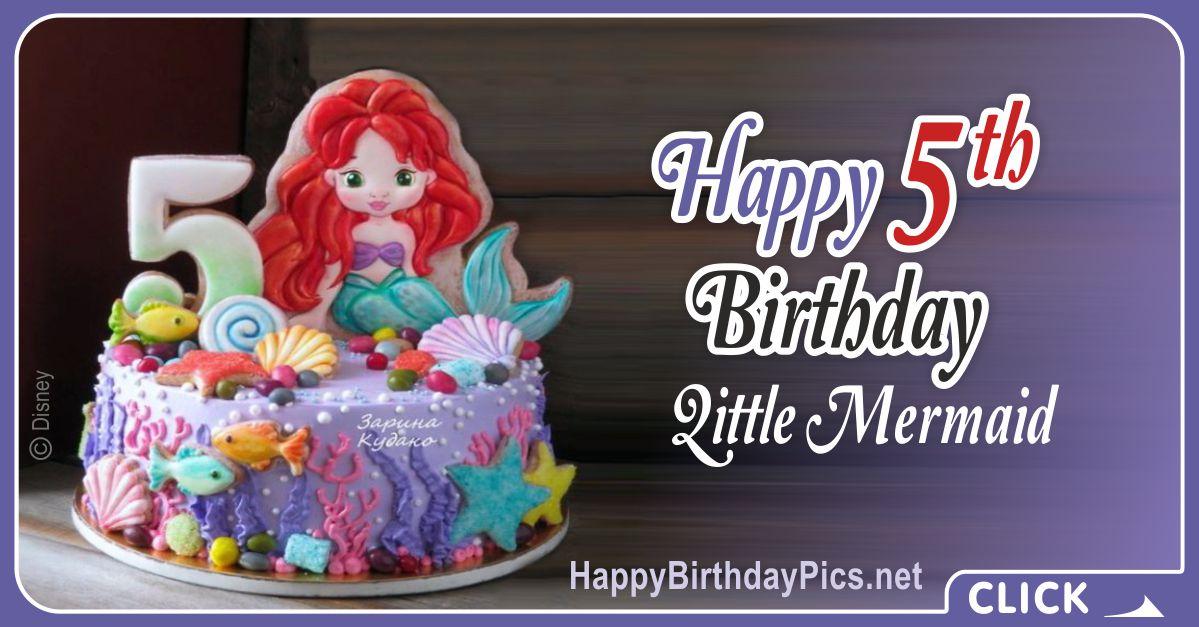 Little Mermaid Fifth Birthday Card Greeting