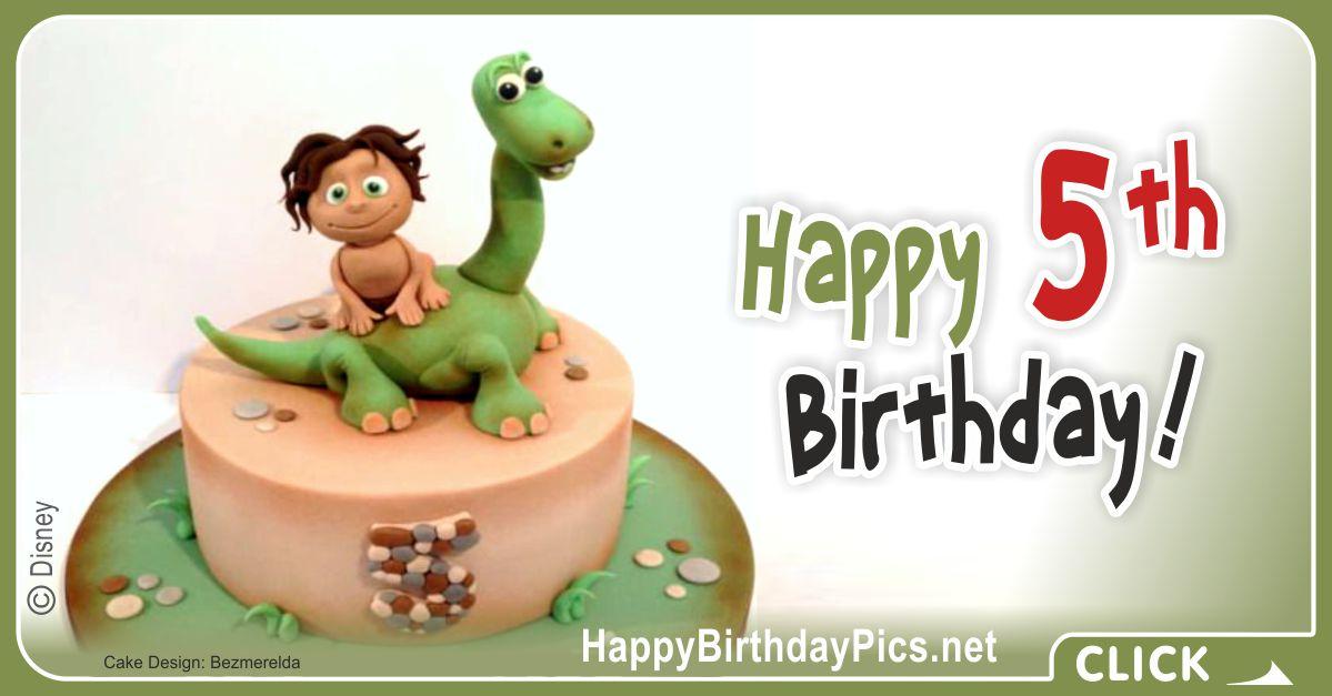 Fifth Birthday The Good Dinosaur Card Greeting