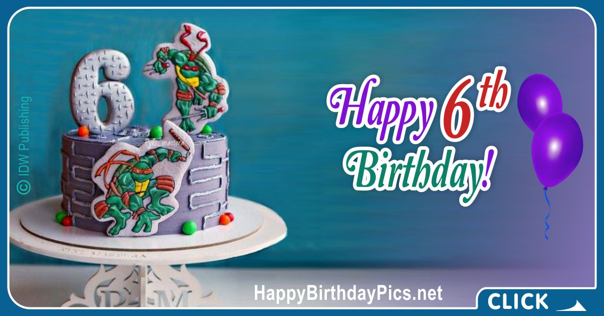 Ninja Turtles Sixth Birthday Card Greeting