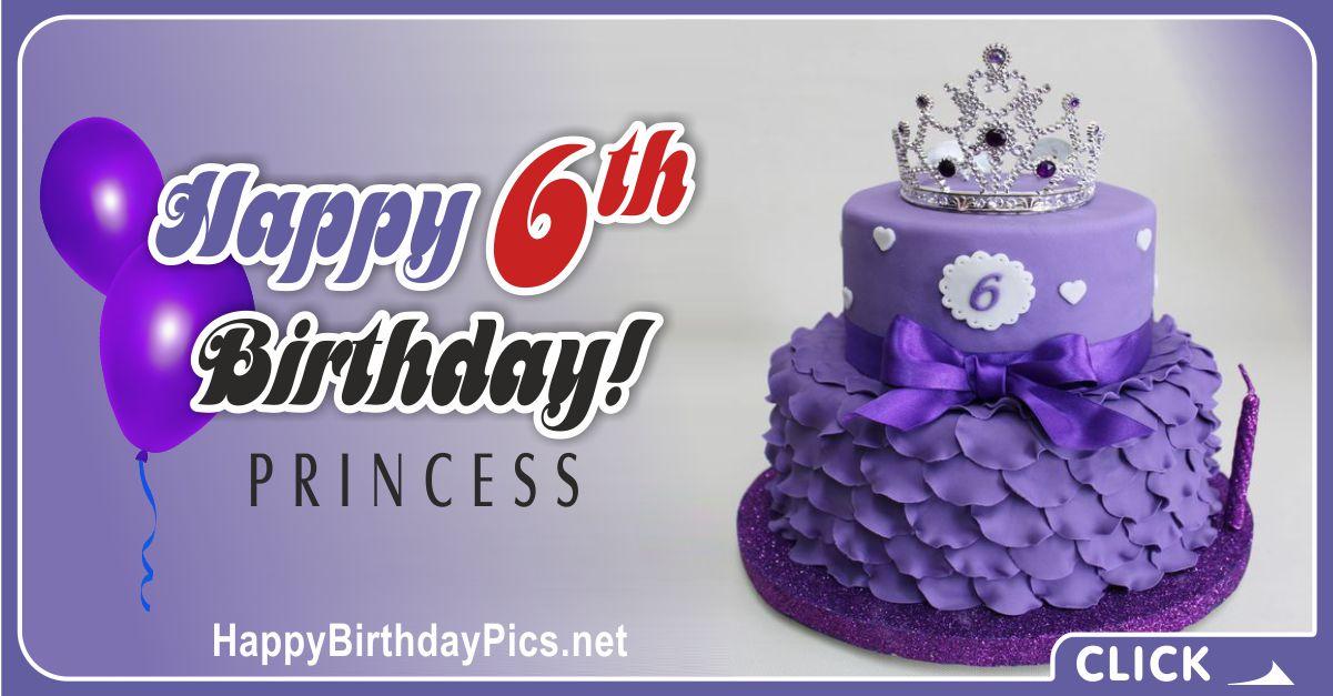 Little Princess Sixth Birthday Card Greeting