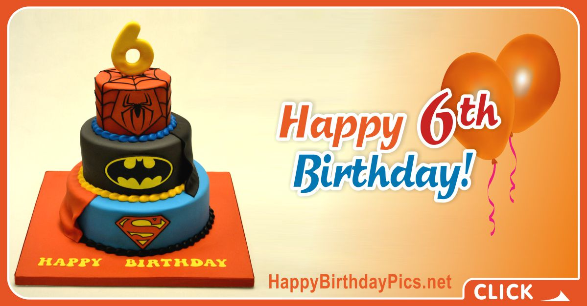 SuperHero Sixth Birthday Card Greeting