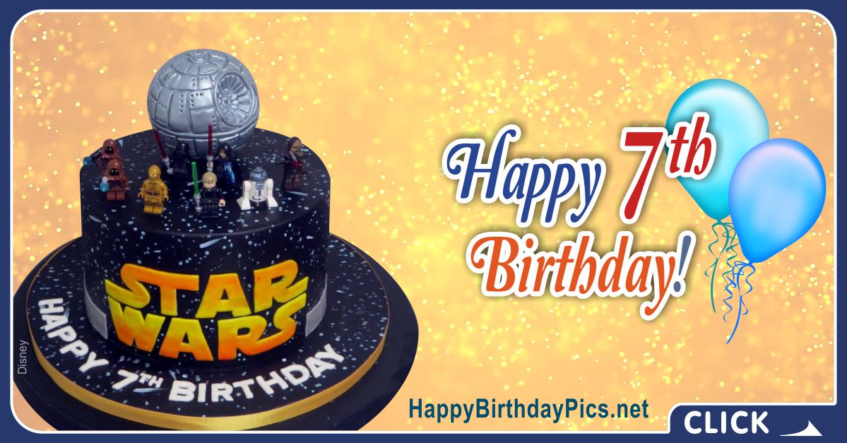 Star Wars Seventh Birthday Card Greeting