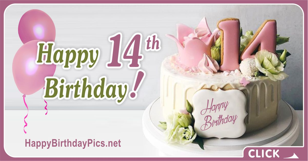 Happy 14th Birthday Sweet Teenager Card Equivalents