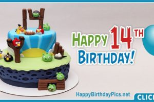 Happy 14th Angry Birds Birthday Card