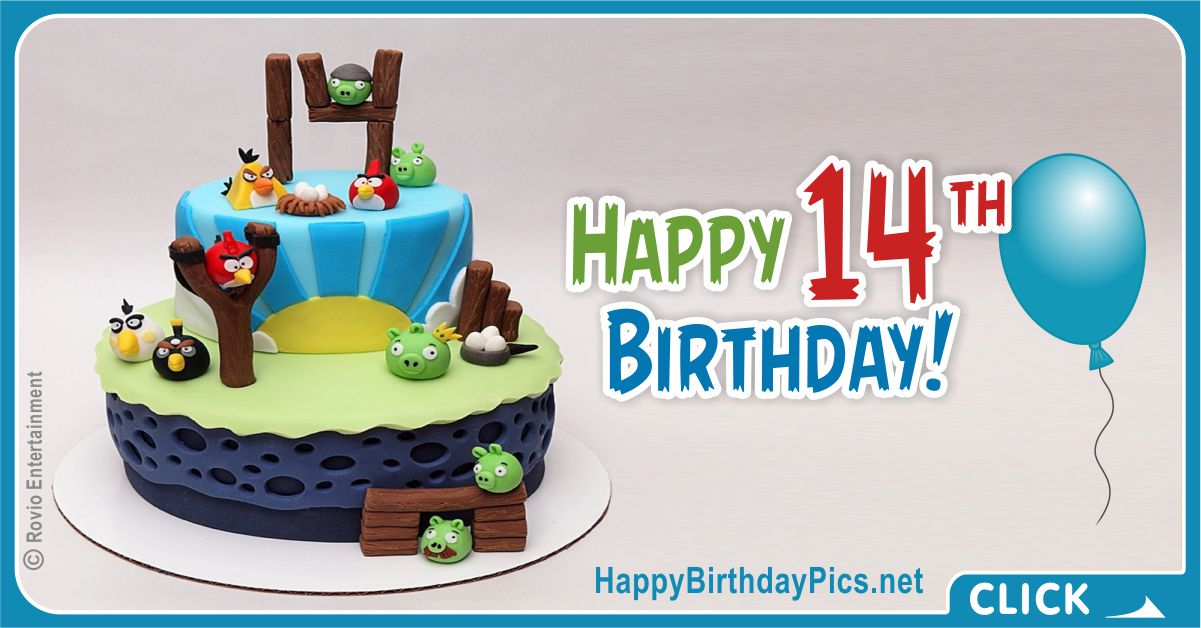 Happy 14th Angry Birds Birthday Card Equivalents