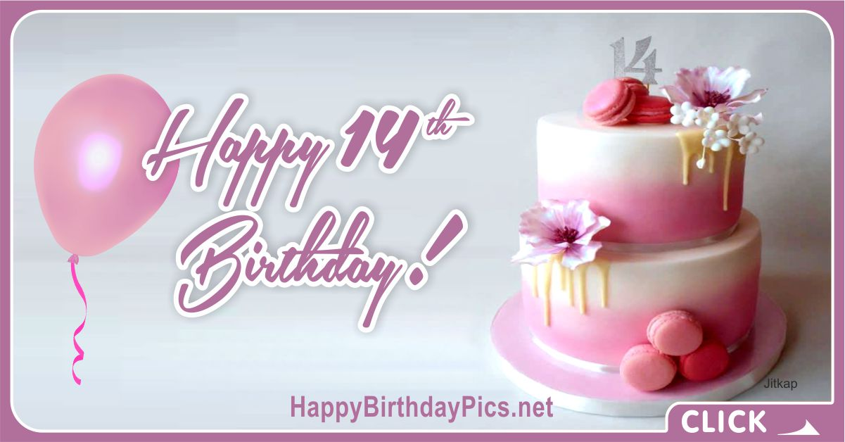 Happy 14th Birthday with a Pink Cake Card Equivalents