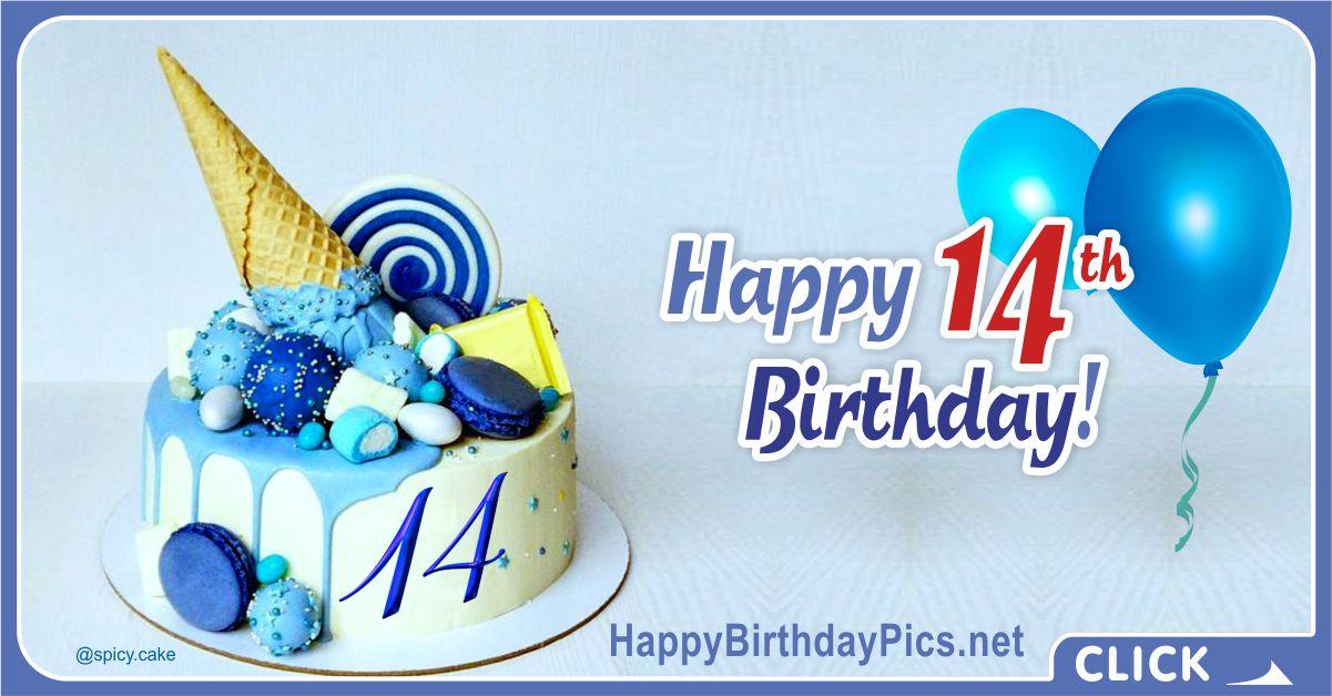 Blue Happy 14th Birthday Card Equivalents