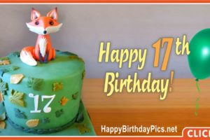17th Birthday Green Cake Fox