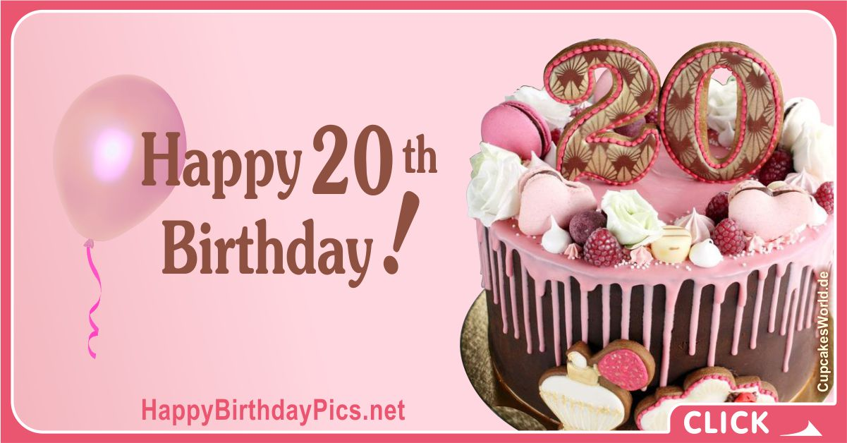Happy 20th Birthday Pink Themed Party Card Equivalents