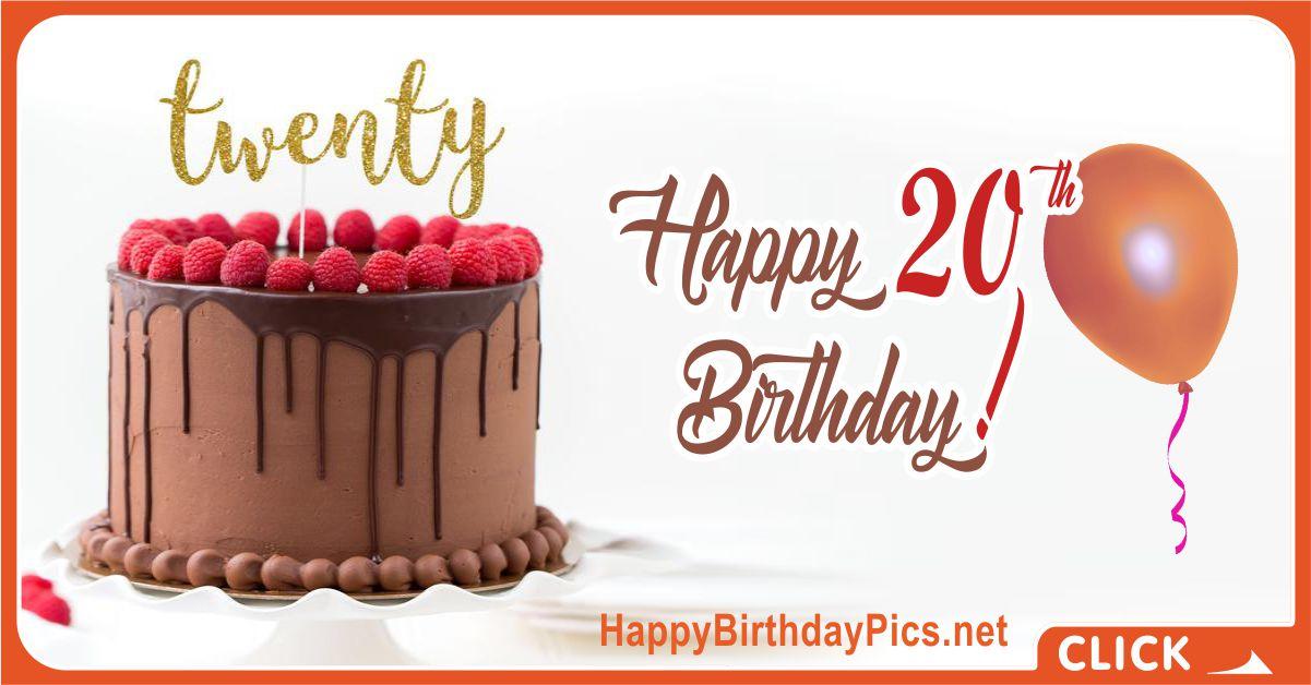 Happy 20th Birthday Chocolate Cake Equivalents