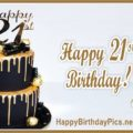 Happy 21st Birthday Gold Brooch