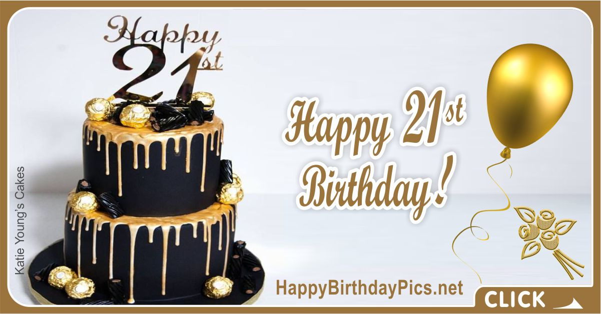 Happy 21st Birthday Gold Brooch Card Equivalents