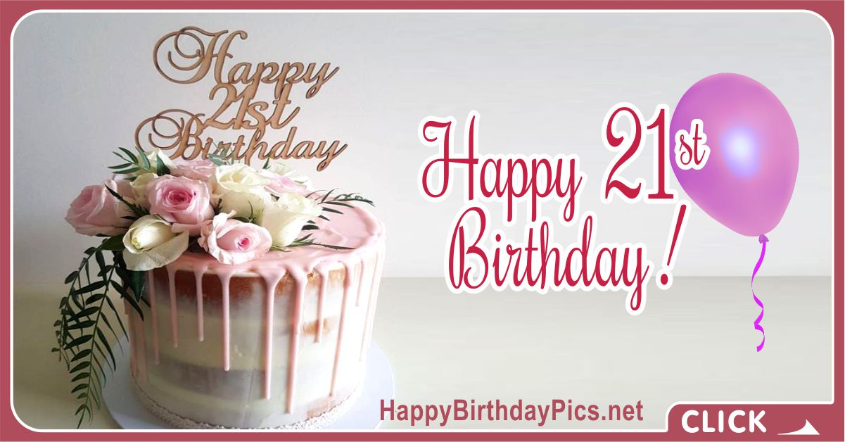 Happy 21st Birthday Gold Pink Roses Card Equivalents