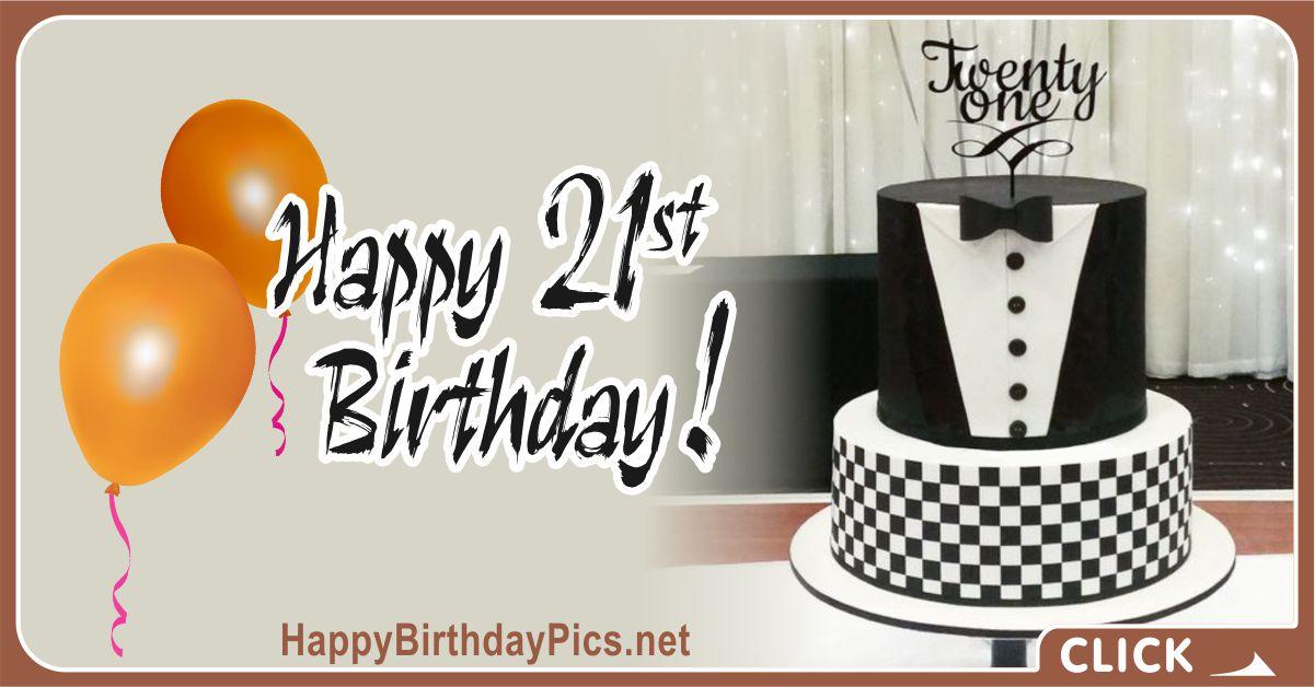 Happy 21st Birthday Black Tuxedo Card Equivalents