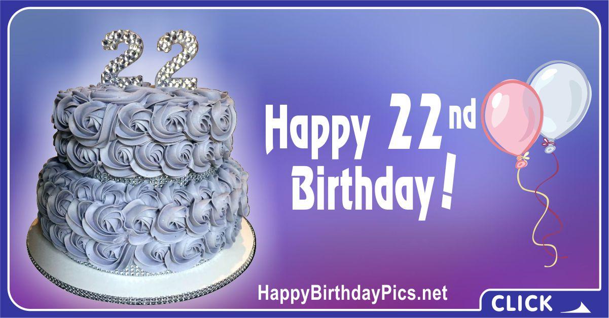 Happy 22nd Birthday with Diamonds Gemstones Card Equivalents