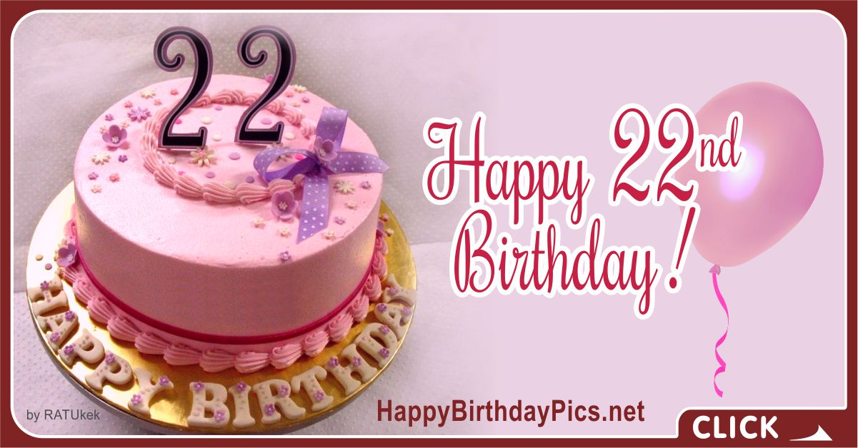 Happy 22nd Birthday with Pink Cake Card Equivalents