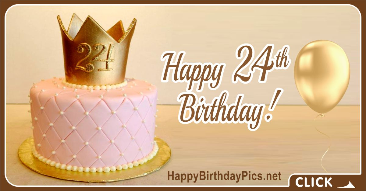 Happy 24th Birthday Golden Crown and Pearls Card Equivalents