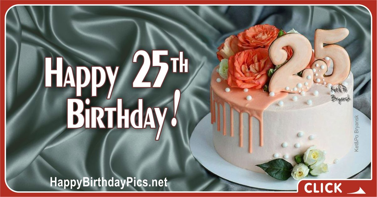 Happy 25th Birthday with Flowers and Pearls Card Equivalents