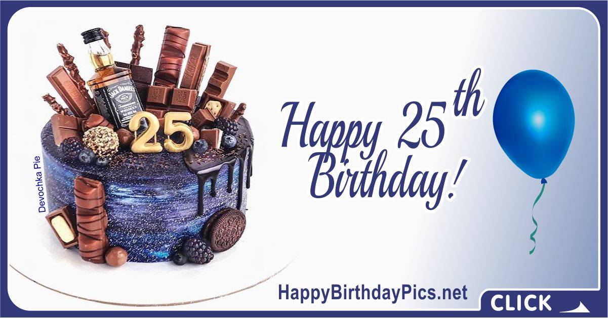 Happy 25th Birthday for Him with Whiskey Card Equivalents