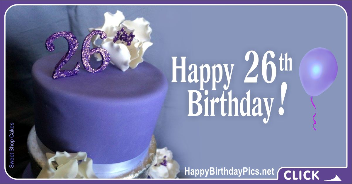 Happy 26th Birthday for Her with a Purple Theme Card Equivalents