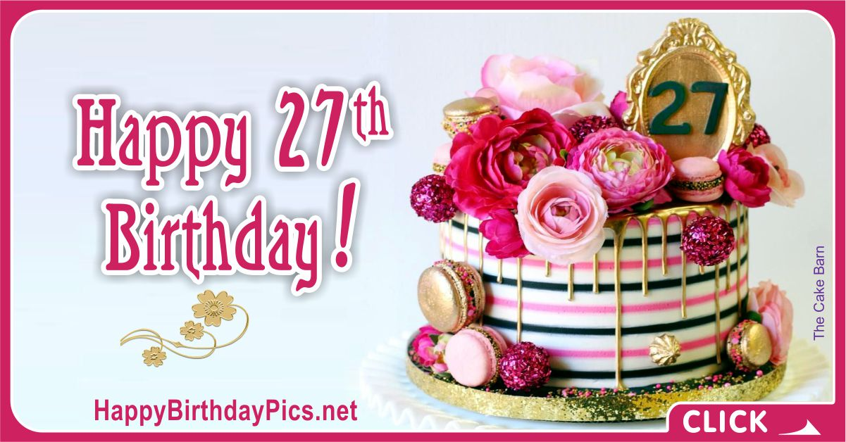 Happy 27th Birthday with Gold Frame Card Equivalents