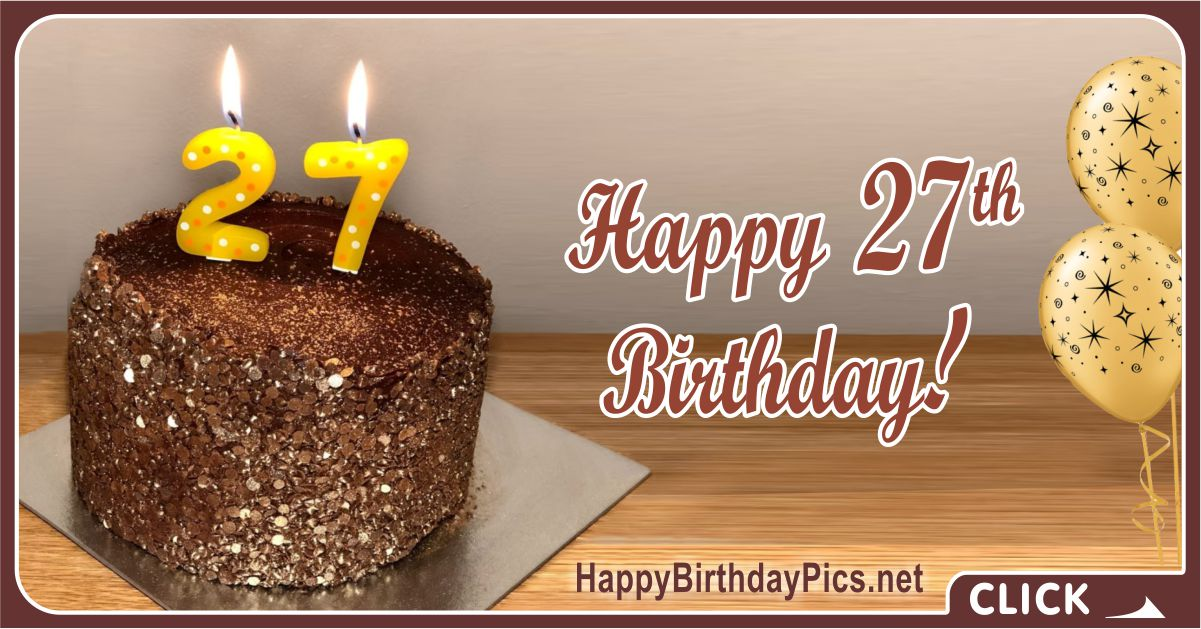Magnificent Happy 27Th Birthday Wishes With Candles Happy Birthday Personalised Birthday Cards Paralily Jamesorg