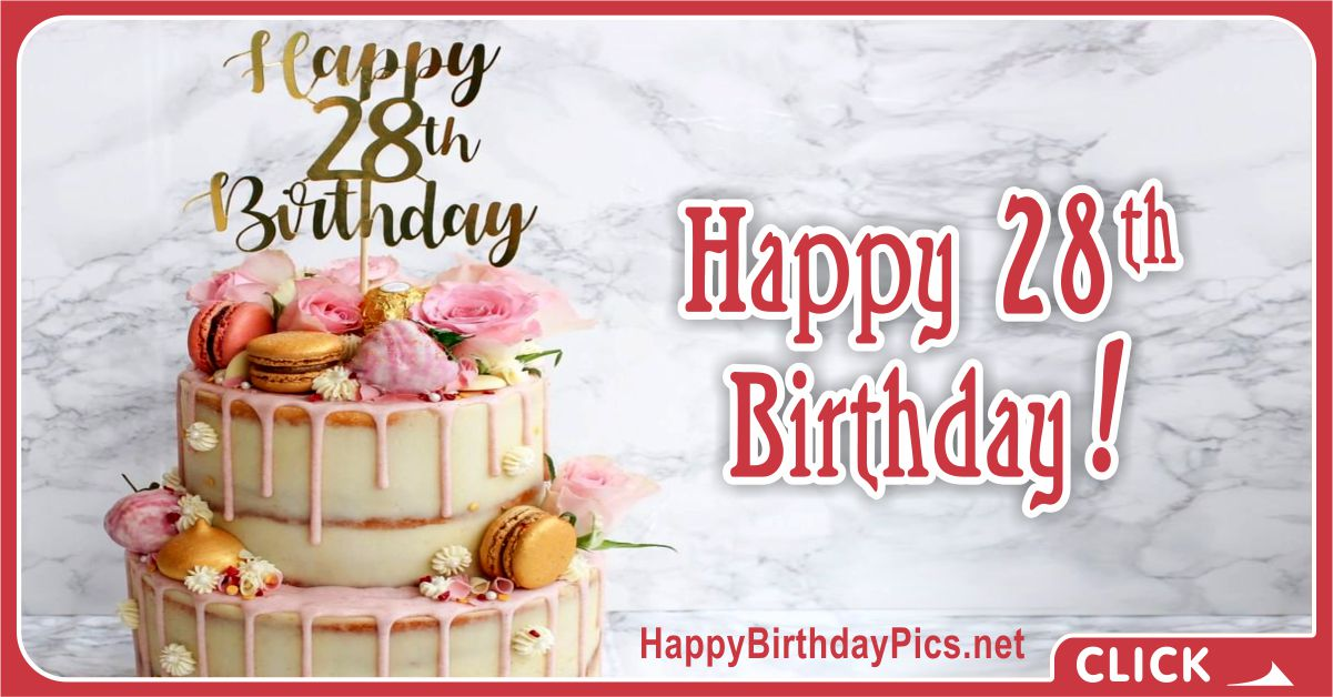 Happy 28th Birthday Pink Flowers Card Equivalents