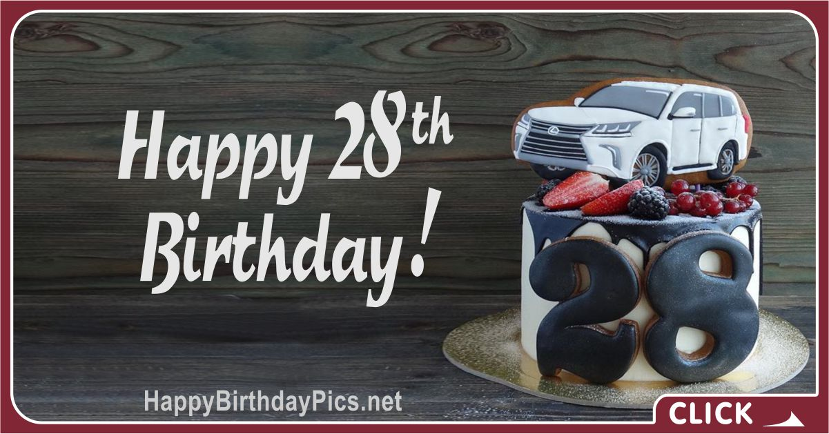 Happy 28th Birthday Car Lover Card Equivalents