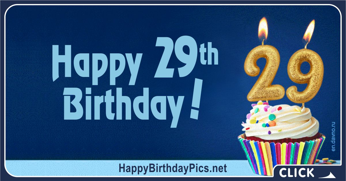 Happy 29th Birthday Cupcake with golden number Card Equivalents