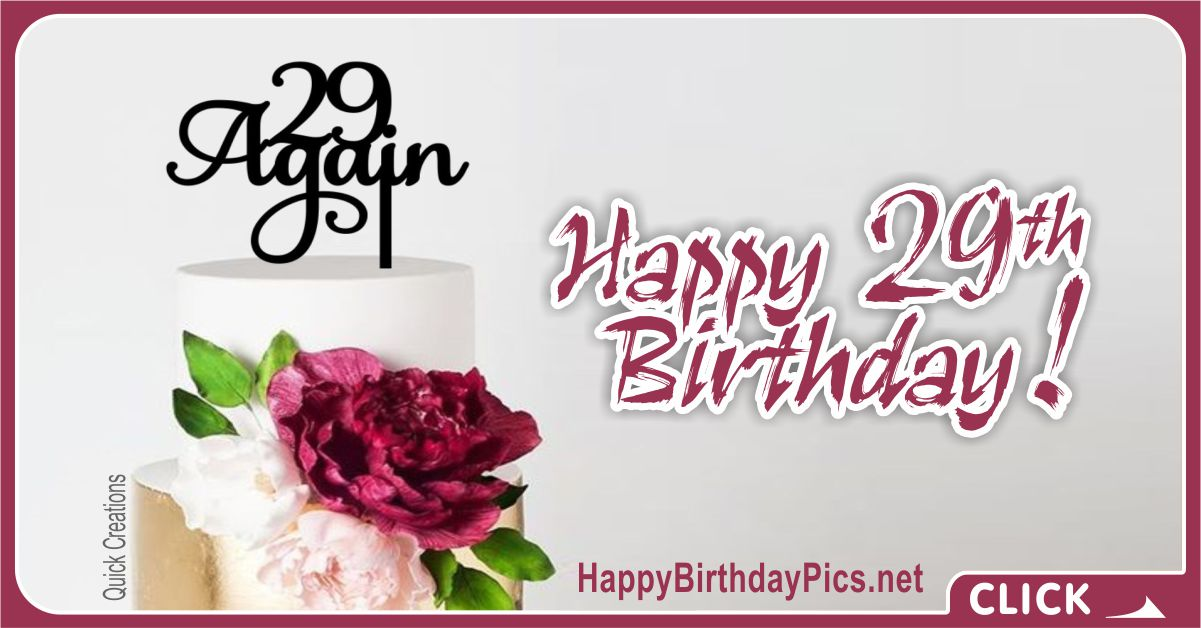 Happy 29th Birthday Again Big Flowers Card Equivalents