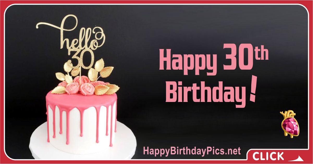 Hello 30 - Happy 30th Birthday with Ruby Brooch Card Equivalents