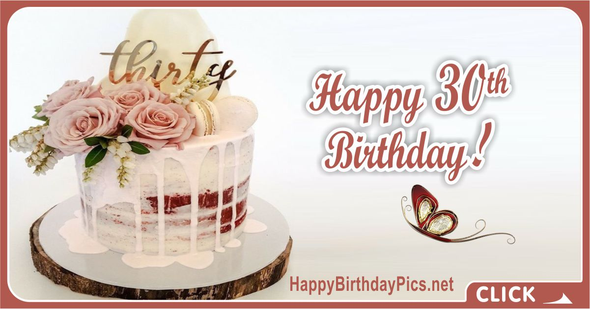 Happy 30th Birthday in Stylish Style Card Equivalents