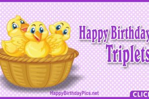 Happy Birthday Triplets – Three Chicks