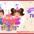 Happy Birthday Twins with Cake and Gifts