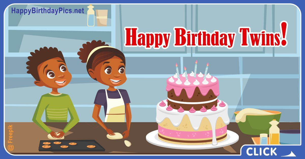 Happy Birthday African American Twins Card Equivalents