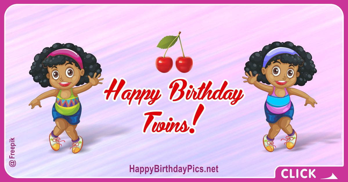 Happy Birthday Cute Twin Girls Card Equivalents